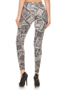 BLACK/WHITE AZTEC PATCHWORK PRINT BRUSH POLY LEGGING #7L01-33