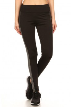 BLACK/HEATHER GREY/HEATHER CHARCOAL COLOR BLOCK LEGGING WITH WORDING (NO LIMITS) #7L06-01