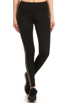 BLACK/HEATHER GREY/HEATHER CHARCOAL COLOR BLOCK LEGGING WITH WORDING (INSPIRE) #7L06-02