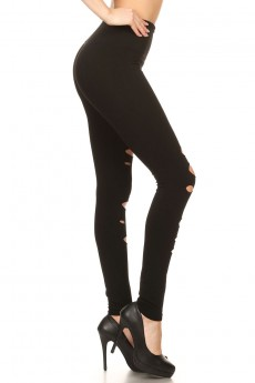 BLACK SEAMLESS LEGGING WITH FRONT DESTROYED HOLES #7L112