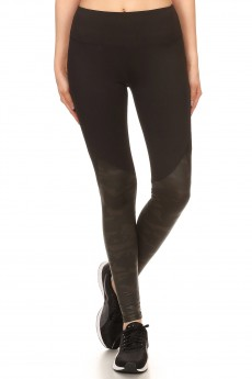 BLACK CONTRAST SHINY COAT PRINT LEGGING W/ BACK KNEE MESH PANEL#7L122-01