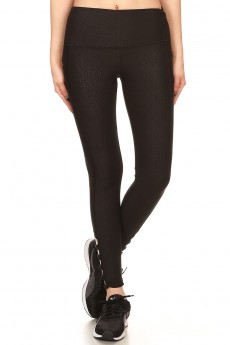 BLK HIGH WAIST ABSTRACT EMBOSSED LEGGING W/ CRISS CROSS STRAP #7L128-01