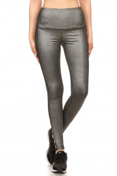 HIGHWAIST METALLIC KNIT LEGGING W/CRISS CROSS TRIM SIDE PANEL#7L129