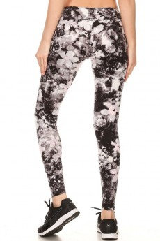 FLORAL PRINT BRUSH POLYESTER LEGGING#7L147-01