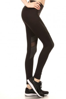 COLOR BLOCK LEGGING WITH CONTRAST MESH#7L35