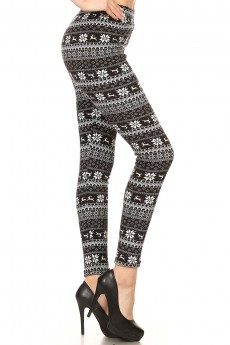 BLACK/WHITE REINDEER FAIRISLE PRINT VELVET FUR LINED LEGGING #7L72-01