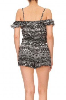 BLACK/WHITE GEO PRINT COLD SHOULDER RUFFLED ROMPER W/ TASSEL#7RMP07-13
