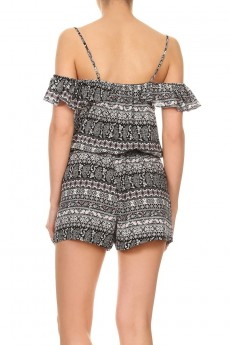 BLACK/MAUVE PAISELY PRINT COLD SHOULDER RUFFLED ROMPER W/ TASSEL#7RMP07-14