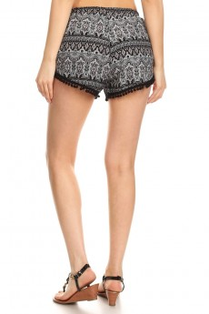 BLACK/CORAL/WHITE TRIBAL PRINT OVERLAP SHORTS W/ POMPOM TRIM#7SH10-15