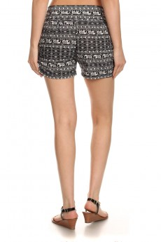BLACK/WHITE ELEPHANT PRINT HAREM SHORTS #7SH11-09