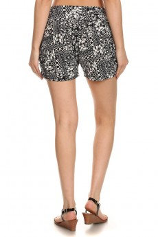 BLACK/WHITE ABSTRACT GEO PRINT HAREM SHORTS #7SH11-18