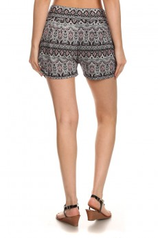 BLACK/BURGUNDY/WHITE TRIBAL PRINT HAREM SHORTS #7SH11-20