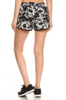 BLACK/WHITE TROPICAL PRINT POLY KNIT SHORTS WITH WAIST TIE #7SH12-20