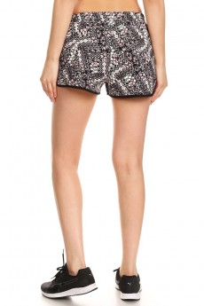 BLACK/MAUVE ABSTRACT GEO PRINT POLY KNIT SHORTS W/ WAIST TIE #7SH12-22