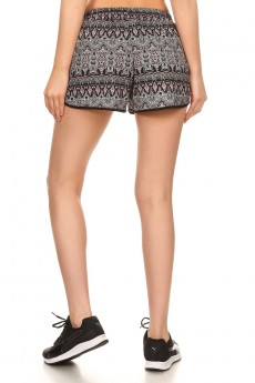 BLACK/CORAL/WHITE TRIBAL PRINT POLY KNIT SHORTS W/ WAIST TIE#7SH12-27