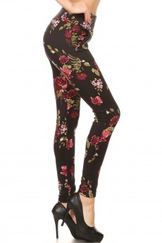 BLACK/BURGUNDY/GREEN FLORAL PRINT TREGGING WITH ZIPPER DETAIL#7TRG09-07