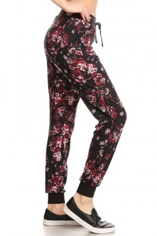 BLACK/BURGUNDY/MAUVE FLORAL PRINT BRUSH POLY JOGGER #7TRK02-57