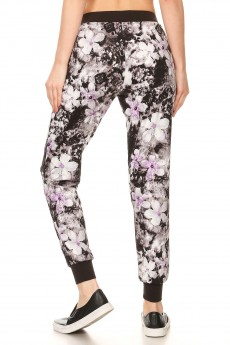 BLACK/WHITE/LAVENDAR ABSTRACT FLORAL PRINT BRUSH POLY JOGGER#7TRK02-58