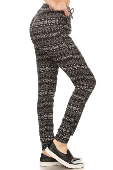 BLACK/HEATHER GREY FAIRISLE PRINT SWEATER KNIT JOGGER#7TRK14-01