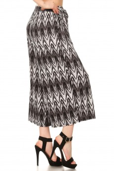BLACK WHITE ABSTRACT CHEVRON PRINT CULOTTES W/FRONT SELF WAIST TIE#8CLT03-12