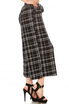 BLACK/WHITE PLAID PRINT CULOTTES W/ SELF WAIST TIE#8CLT03-17