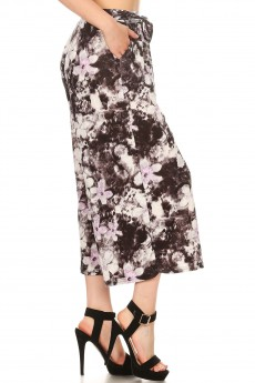 ABSTRACT FLORAL PRINT CULOTTES W/ SELF WAIST TIE#8CLT03-20