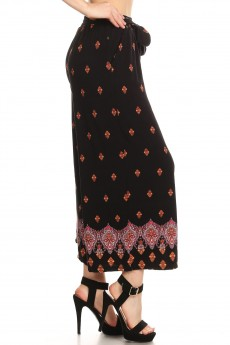 BLACK/ORANGE BOHO PRINT CULOTTES W/ SELF WAIST TIE#8CLT03-22