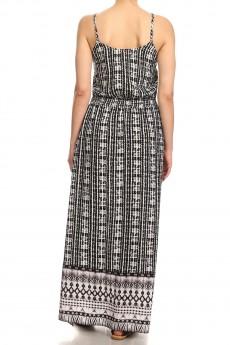 BLACK/WHITE TIE DYE BORDER PRINT SIDE SLIT MAXI DRESS#8DS04-01