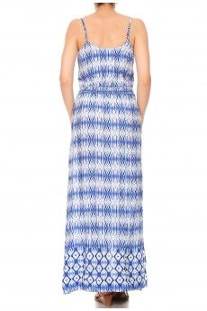 NAVY/WHITE GEO TIE DYE BORDER PRINT SIDE SLIT MAXI DRESS #8DS04-02