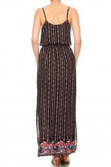 BLACK/PINK AZTEC FLORAL BORDER PRINT SIDE SLIT MAXI DRESS#8DS04-05