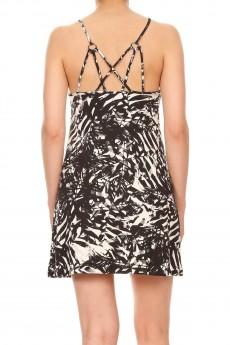 BLACK/WHITE TROPICAL PRINT BRUSH POLY STRAPPY SHORT DRESS#8DS12-01
