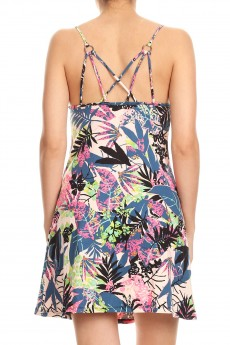 TROPICAL PRINT DRESS WITH MULTI STRAP DESIGN#8DS12-03