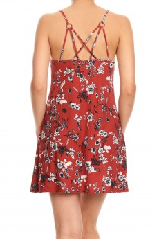 FLORAL PRINT BRUSH POLY STRAPPY SHORT DRESS#8DS12-04