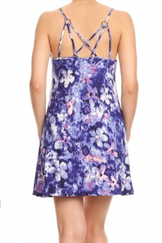 NAVY/WHITE ABSTRACT FLORAL PRINT BRUSH POLY STRAPPY SHORT DRESS#8DS12-05