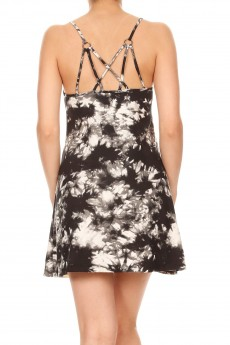 BLACK/WHITE TIE DYE PRINT DRESS WITH MULTI STRAP DESIGN#8DS12-07