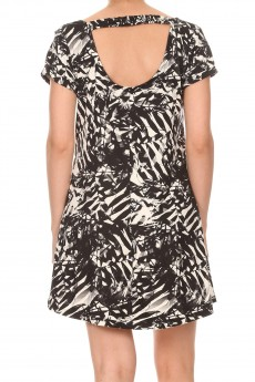 BLACK/WHITE TROPICAL PRINT SHORT SLEEVE A-LINED DRESS W/ BACK STRAP#8DS17-02