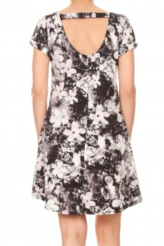BLACK/PINK TIE DYE FLORAL PRINTED SHORT SLEEVE A-LINED DRESS W/ BACK STRAP#8DS17-04