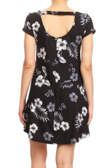 BLACK/GREY/WHITE TROPICAL PRINTED SHORT SLEEVE A-LINED DRESS W/ BACK STRAP#8DS17-05