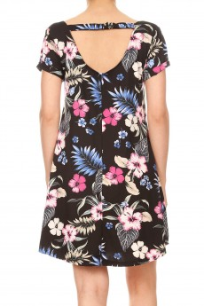 BLACK/MULTI TROPICAL SHORT SLEEVE A-LINED DRESS W/ BACK STRAP#8DS17-06