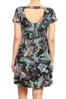 BLACK/MINT/MULTI TROPICAL PRINTED SHORT SLEEVE A-LINED DRESS W/ BACK STRAP#8DS17-07