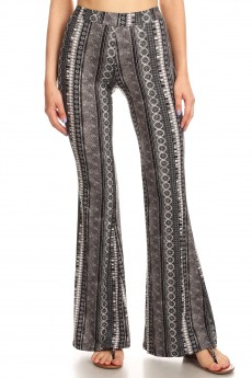BLACK/GREY/WHITE BOHO PRINT BRUSH POLY FLARE PANTS#8FP01-22