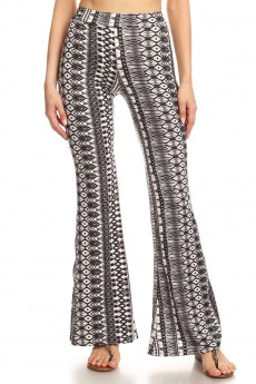 BLACK/GRAY/WHITE GEO TIE DYE PRINT BRUSH POLY FLARE PANTS#8FP01-24