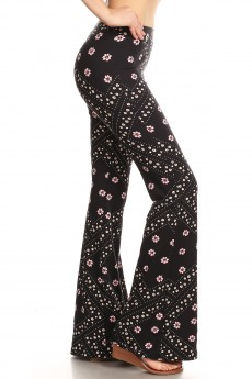 BLACK/PINK FLORAL HANKER CHIEF PRINT BRUSH POLY FLARE PANTS#8FP01-39