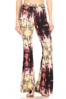 BLACK/RUST/YELLOW TIE DYE PRINT FLARE PANTS#8FP01-4003