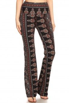 BLACK/BROWN/CREAM BOHO PRINT HIGH WAIST BRUSH POLY FLARE PANTS#8FP06-03