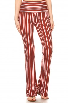 RUSTY/WHITE STRIPE PRINT HIGH WAIST FLARE PANTS #8FP06-SP17A