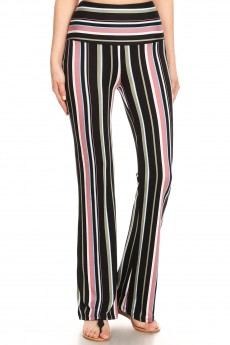 BLACK/GREEN/MOCHA STRIPE PRINT HIGH WAIST FLARE PANTS#8FP06-SP25