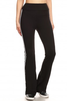 BLACK FLARE PANTS W/ SIDE WHITE/BLACK TAPING#8FP07-03
