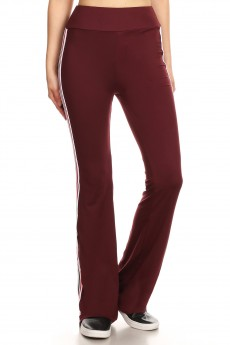 BURGUNDY FLARE PANTS W/ SIDE RED/BLACK/WHITE TAPING#8FP07-05