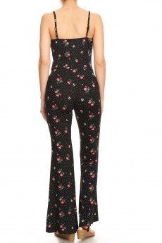 BLACK/WHITE/RED POLKA DOT FLORAL PRINT FLARE JUMPSUIT W/ CAMI TOP#8JPS01-CV15
